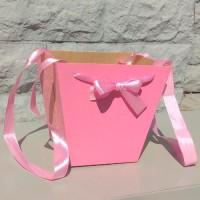 Коробка-трапеция розовая, 19х22х14 см