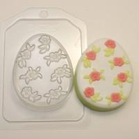 Яйцо плоское/Мелкие цветочки, пластиковая форма
