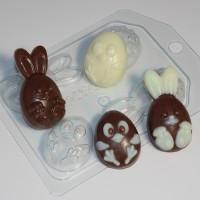 Кролик и цыпленок (4 мини), пластиковая форма