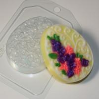 Яйцо плоское/орнамент и цветы, пластиковая форма