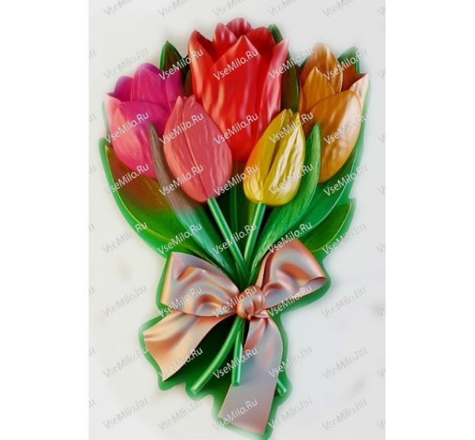Силиконовая форма букет тюльпанов, 80 гр