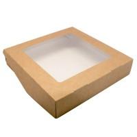 Коробка крафт с окном, 20х20х4 см